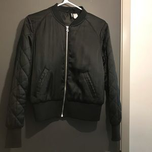 Black Bomber Jacket with Quilted Sleeves
